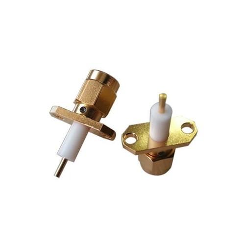 SMA 2 Hole Flange Straight Plug With Extended PTFE