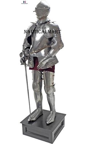 NauticalMart Italian Full Suit of Armor Medieval Knight Closed Helmet Costume