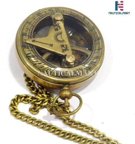 Brass Push Button Compass Maritime Nautical Mini Sundial Compass Desk Gift (Antique)