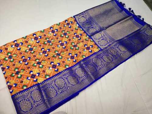 patan patola sarees orange with blue combination