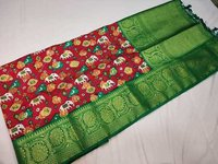 patan patola saree red with green combination