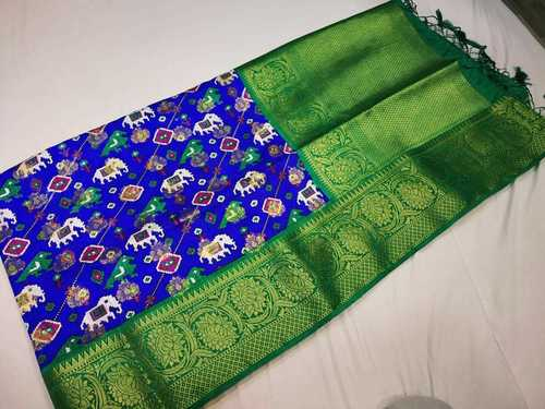 patan patola saree blue with green combination