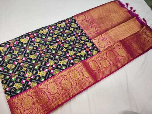 patan patola saree black with pink