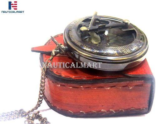 Brass Sundial Compass with Chain & Leather Case - Marine Nautical - Sun Clock - Steampunk Accessory