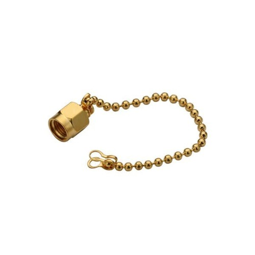 SMA Male Dust Cap With Steel Chain Gold Plated