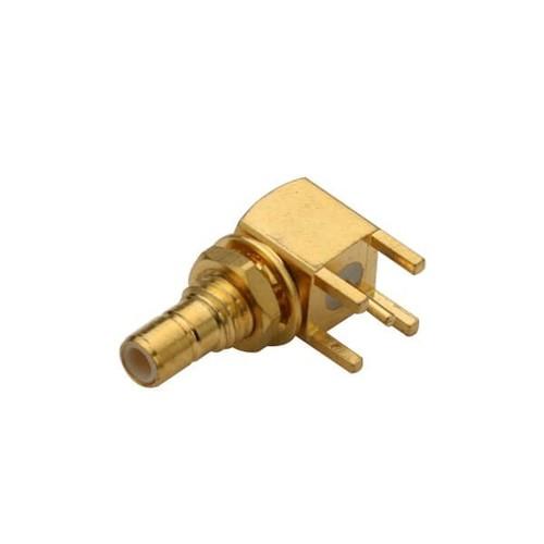 SMB Coax Right Angled Bulkhead Gold Plated Female For PCB