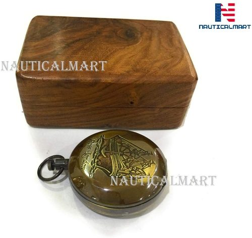Brass Push Button Compass Engraved Rose London Direction Pocket Compass with Box Nautical Brass Ship Sailor Navigate Maritime Gift
