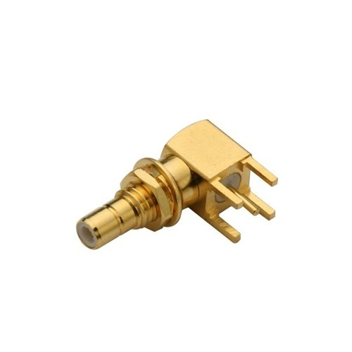 SMB Female Right Angle Connector Gold Plating Through Hole For PCB Mount