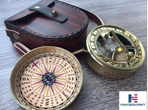 Nauticalmart Brass Pocket Sundial Compass W/cover & Leather Case