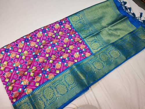 linen saree violet with sea green