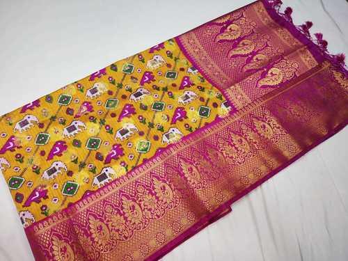 patan patola saree yellow with pink