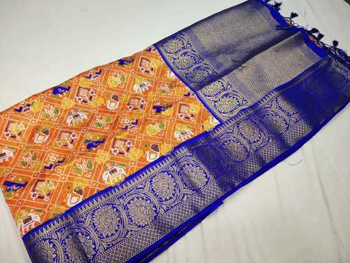 patan patola saree  orange with blue