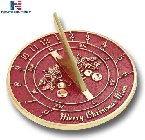 NauticalMart Christmas Sundial Gift for Mum Brass Sundial Gift Handmade