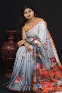 Jacquard Linen fabric saree