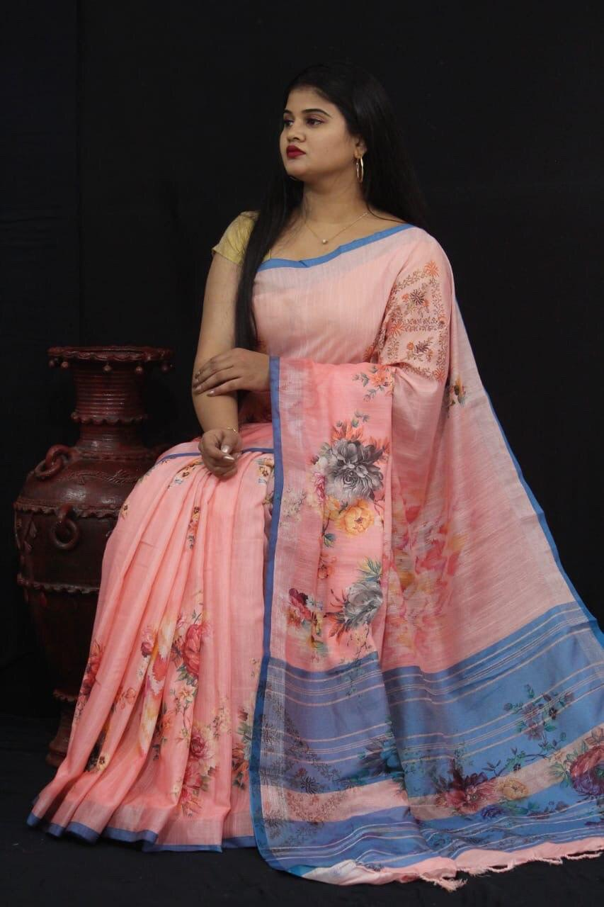Jacquard Linen fabric saree