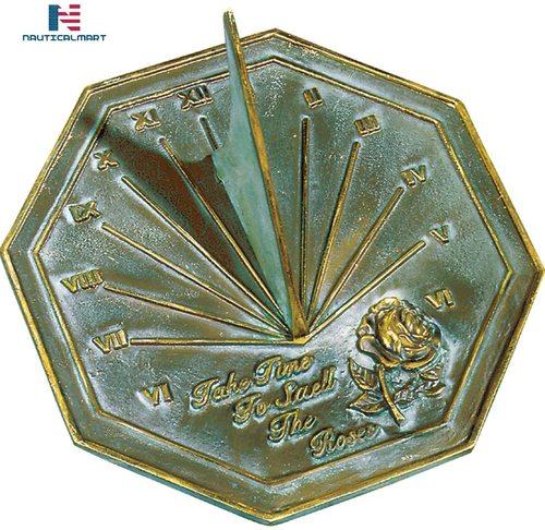 NAUTICALMART Rose Sundial, Solid Brass with Verdigris Highlights, 8.5-Inch Diameter