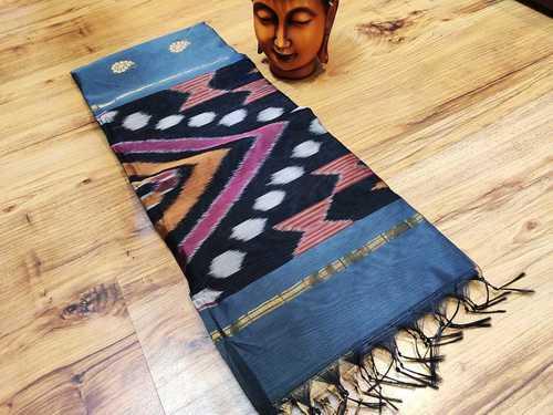 cotton saree ikkat sky blue with black