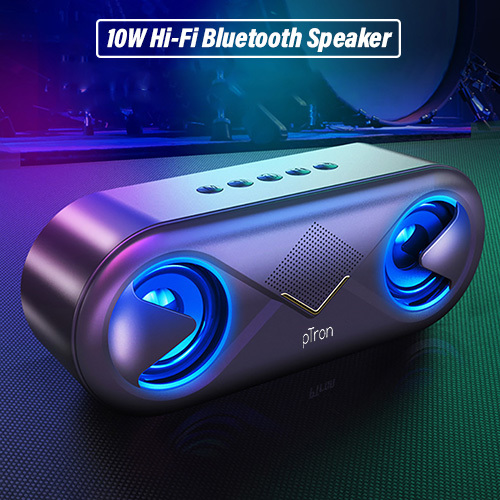 pTron Fusion 10W Stereo Sound Portable Bluetooth Speaker with Mic