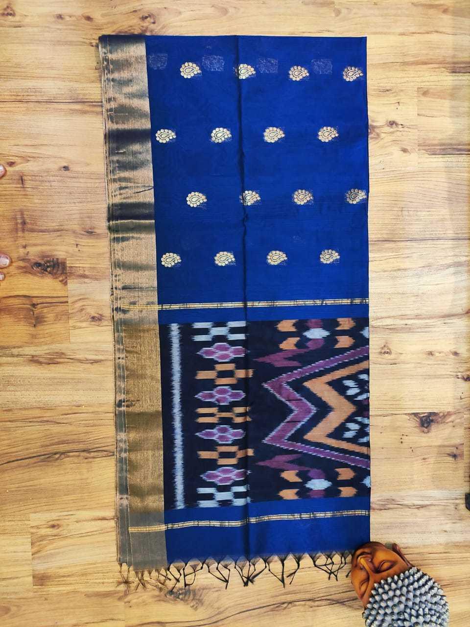 silk cotton ikkat saree sky blue with black