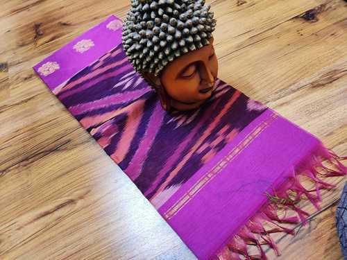 cotton saree ikkat violet with black