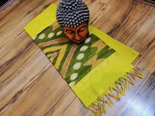ikkat silk cotton saree yellow with green