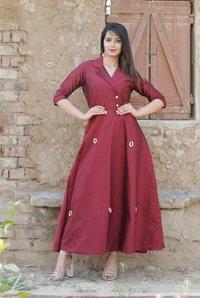 Stylish Silk Coat  Style Kurti
