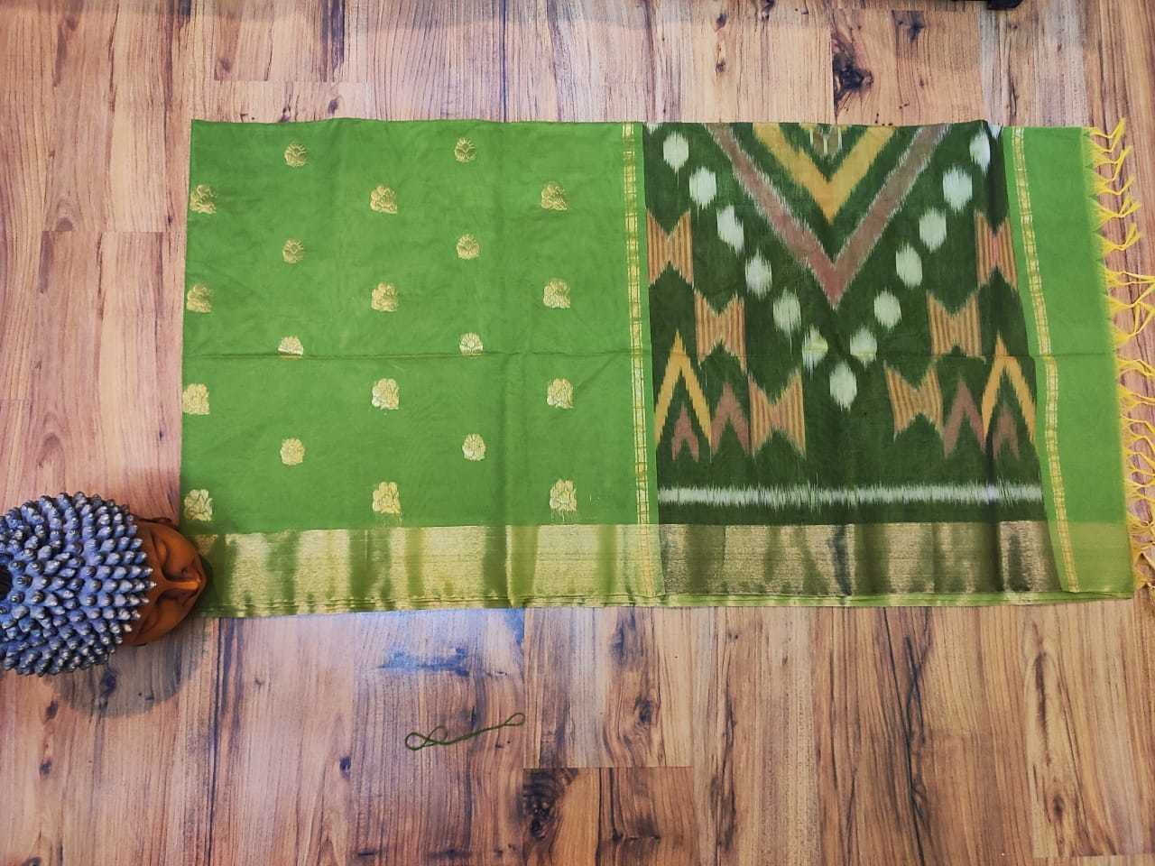 ikkat cotton green with black