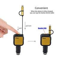 pTron Dynamite 4.8A 2-USB Port Car Charger with 2 in 1 Cable