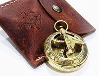 Brass Nickle Plated Pocket Press Button Sundial Compass Mini Maritime Gift
