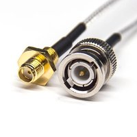 BNC Cable Connector Male Straight To SMA Straight Female Rear Panel Mount Coaxial Cable With RG316