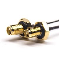 Female Coaxial Cable Connector RP SMA Straight For 1.37 Black Cable
