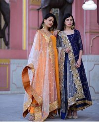 Gerogette With Embroidery Long Kurti