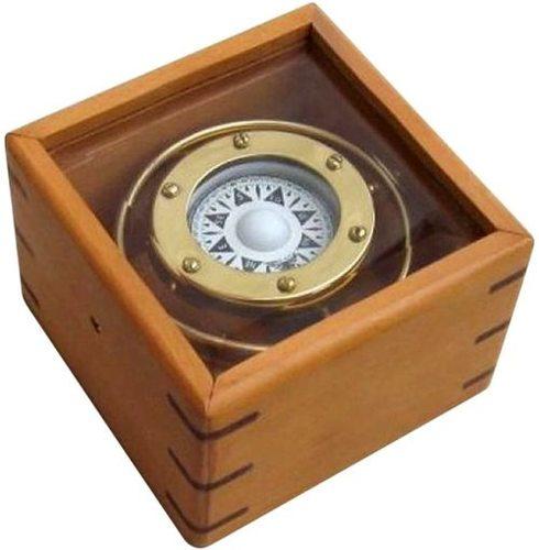 NauticalMart Gimbal Compass Wood/Glass Box Outdoor Camping Gear