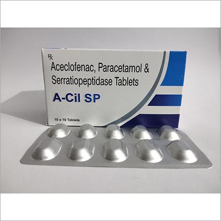 Aceclofenac + Paracetamol + Serratiopeptidase ( A-Cil Sp Tab )
