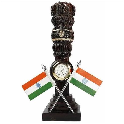 Wooden Ashoka Pillar with Flag and watch
