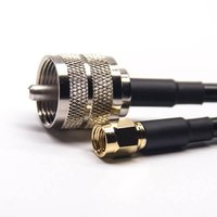 UHF Coaxial Cable Connectors Male Straight Solder Cup To RP SMA Male Straight RG142 Cable