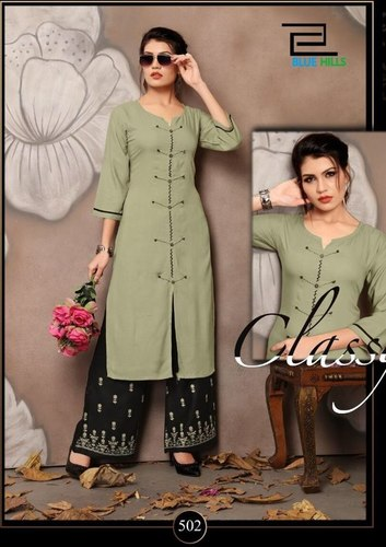Grey Cotton Kurti With Black Plazzo