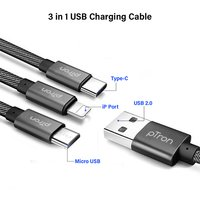 pTron Indigo 3 in 1 2Amp USB Charging Cable for All Smartphones