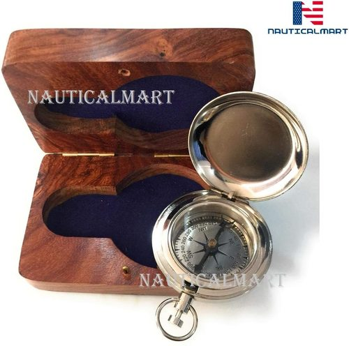 Nautical-Mart Handmade Chrome Compass Push Button Pocket Compass with Box - Camping Travelling Equipment - Perfect Sailor Gifts - Vintage Working Compass