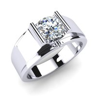 Men Silver Solitaire Ring