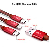 pTron Indigo 3-in-1 2.0Amp 1M USB Charging Cable for All Smartphones