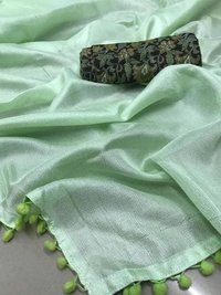 Linen Cotton Saree with pumpum