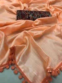 Linen Cotton Saree with pumpum