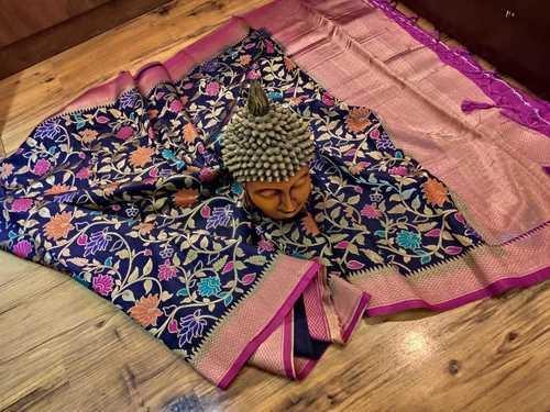 banarasi silk saree navi blue colour