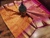 pure silk double warp wedding saree