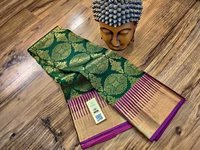 pure silk bridal saree bottle green with violet