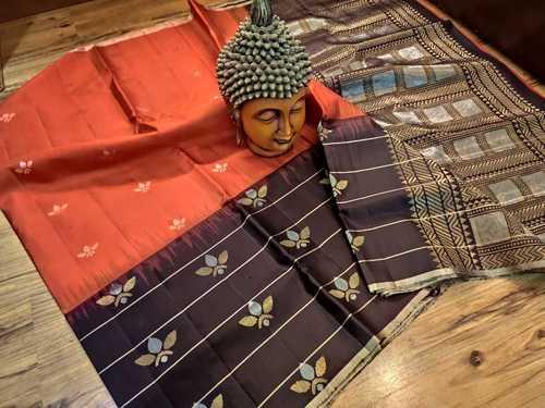 pure silk skirt border orange with black combination