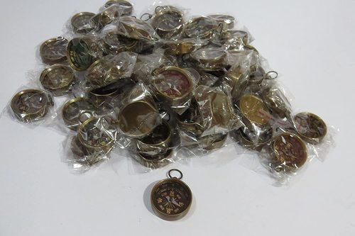 Lot of 25 Pcs Maritime Nautical Vintage Antiqued Brass Pocket Compass Key Chain