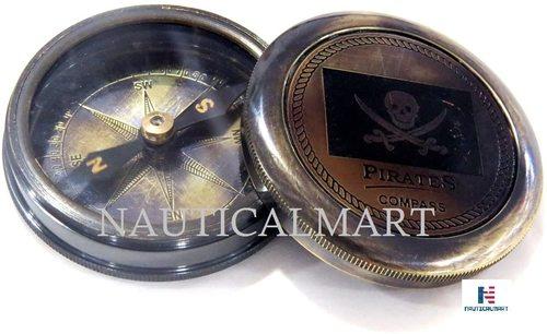 NauticalMart Pirated Brass Pocket Compass Antique Compass