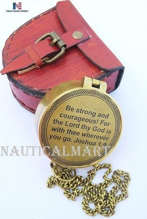 NauticalMart Be Strong and Courageous, Engraved Compass, Joshua 1:9 Engraved Gifts, Confirmation Gift Ideas, Baptism Gifts, Missionary Gifts, Birthday Gifts...